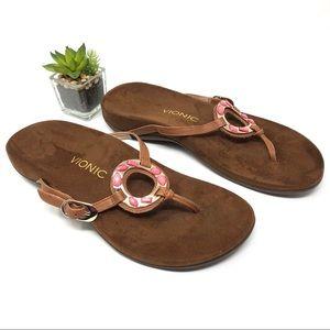 Vionic Karina Brown Embellished Thong Sandals 9